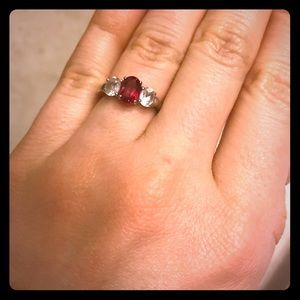 Zales ruby and white sapphire ring